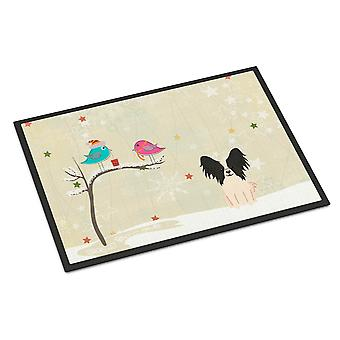Christmas Presents between Friends Papillon Black White Indoor or Outdoor Mat 24