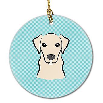 Dambord blauw gele Labrador keramische Ornament