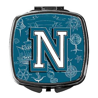 Letter N Sea Doodles Initial Alphabet Compact Mirror