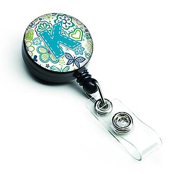 Letter K Flowers and Butterflies Teal Blue Retractable Badge Reel