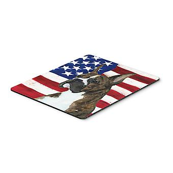 Carolines Treasures  SS4035MP USA American Flag with Boxer Mouse Pad, Hot Pad or