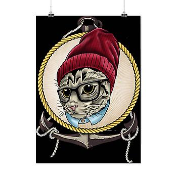 Matte or Glossy Poster with Face Swag Cool Head Cat | Wellcoda | *d1987