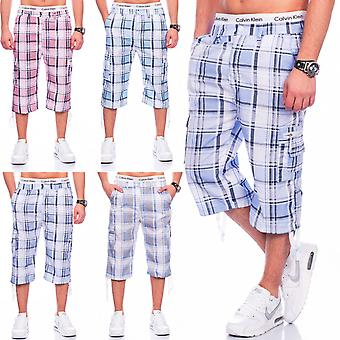 Men's Bermuda shorts of shorts stretchy cargo print checkered sport (various colors)