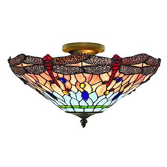 Dragonfly Antique Brass And Tiffany Glass Semi Flush Fitting - Searchlight 1289-16