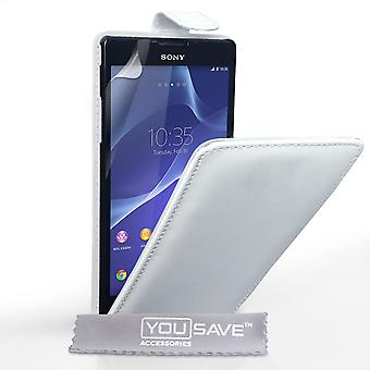 Sony Xperia T2 Ultra-Lederoptik Flip Case - weiß