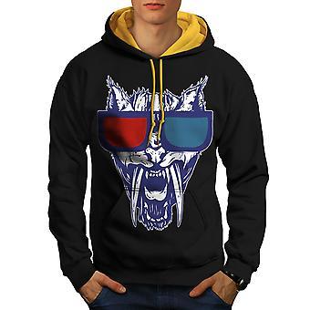 Butin tigre 3D Fashion hommes noir (capot or) contraste Hoodie | Wellcoda