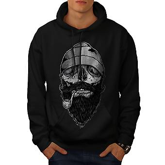 Smoke Beard Skull Men BlackHoodie | Wellcoda