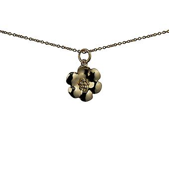 9ct Gold 15mm Flower Pendant with a cable Chain 20 inches