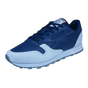 Reebok Classic Leather Womens Trainers / Shoes - Navy and Grey