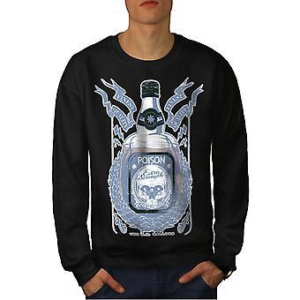 Death Drink Skull Men BlackSweatshirt | Wellcoda