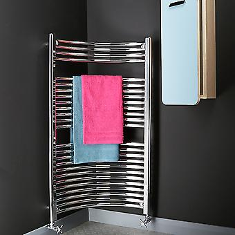 Heated Bathroom Corner Curved Towel Rail Radiator - Silver Chrome - H1120xW450mm