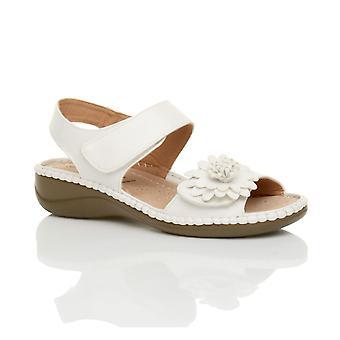Womens Ajvani bas crochet talon coin & boucle sangle slingback fleur confort cuir semelle sandales Chaussures