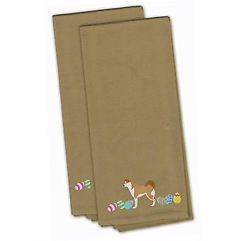 Akita Easter Tan Embroidered Kitchen Towel Set of 2