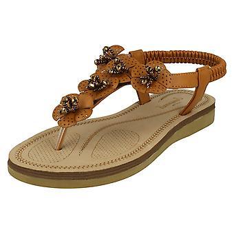 Ladies Savannah Beaded Flower Trim Sandals F00099