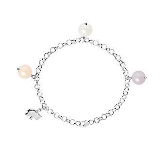 Bracelet Elephant Perle de culture d'eau douce Blanche, Peche et Lavande et Argent 925