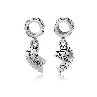 Mother and daughter in 925 Silver heart Bead charms