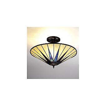 Interiors 1900 TG08SH + SF01 Dark Star 3 Light Semi-Flush Ceiling Fixt