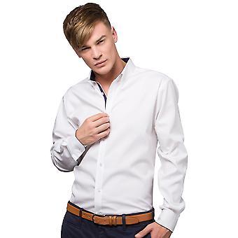 Kustom Kit Mens Contrast Premium Oxford Shirt (Button Down Collar) Long Sleeve