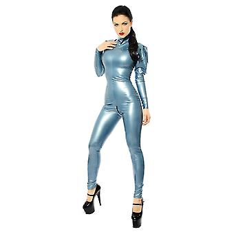 Westward Bound Montmartre Latex Rubber Catsuit. Pearl Sheen Steel Blue.