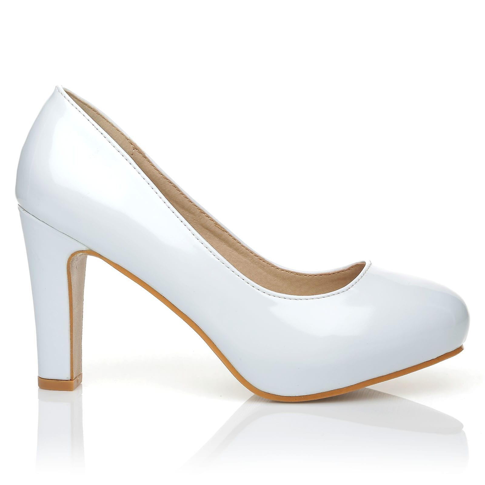 LOVE White Patent PU Leather Slim-Block High Heel Platform Court Shoes