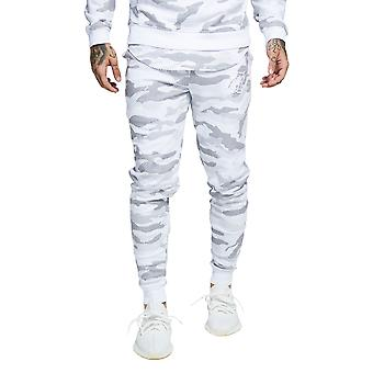 Sik Silk Joggers Cotton Tracksuit Bottoms - White Camo