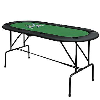 HOMCOM Poker Table Top 1.85m Folding Top For 8 Players Casino w/ Chip Trays Drink Holders(foldable)