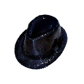 Sombrero de gángster de lentejuelas - negro