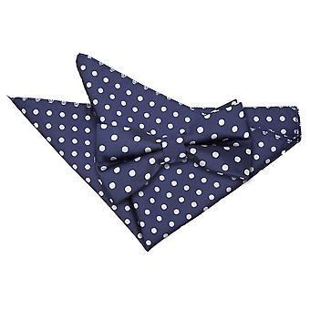 Navy Blue Polka Dot Bow Tie & Pocket Square Set