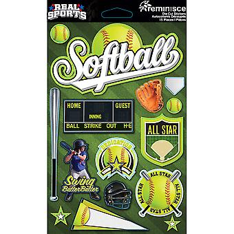 Real Sports Dimensional Cardstock Stickers-Softball