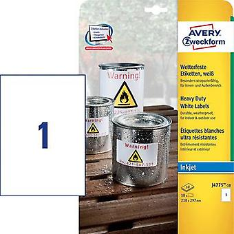 Avery-Zweckform J4775-10 Labels 210 x 297 mm Polyester film White 10 pc(s) Permanent All-purpose labels, Weatherproof labels