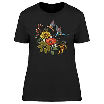 Two Hummingbirds With Flowers Tee Women's -Image by Shutterstock