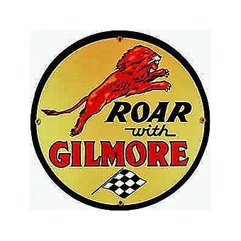 Rugido con Gilmore licencia de porcelana en la muestra de acero