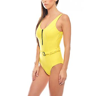 Swimsuit with shaping effect and belt B-Cup yellow heine