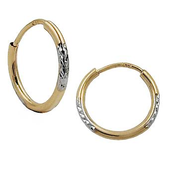 Gold Earrings hoops gold 375 Creole Creole, bicolor, diamond, 9 KT GOLD
