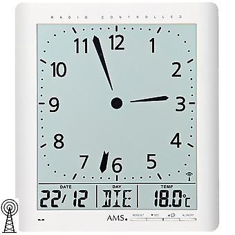 AMS 5896 vegg klokke klokkeradio hvit digital datoen alarmen termometer