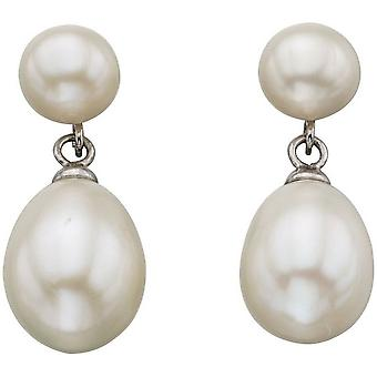 Beginnings Freshwater Pearl Double Drop Stud Earrings - White/Silver