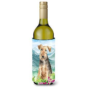 Mountian Flowers Welsh Terrier Wine Bottle Beverage Insulator Hugger