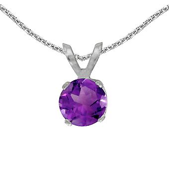 14k White Gold Round Amethyst Pendant with 18
