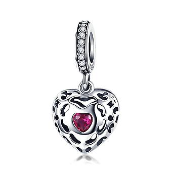 Sterling silver pendant charm Happiness heart