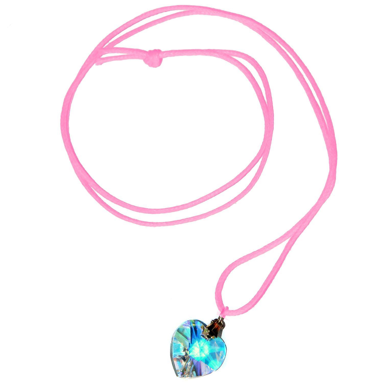 Waooh - gioielli - Swarovski / riflessione cuore blu pendente con cordino cerato