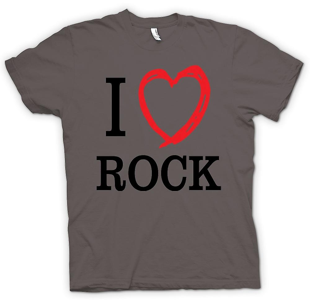 Mens T-shirt - I Love Rock Music Band - Quote