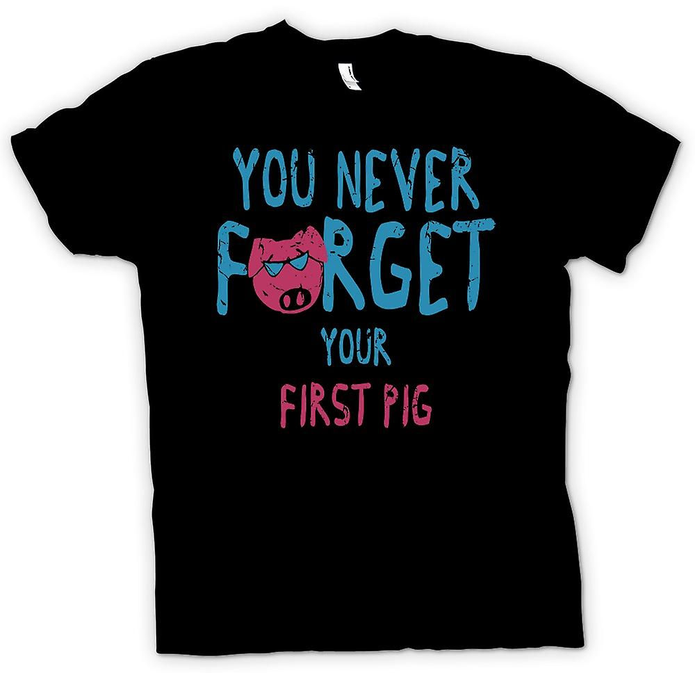 Mens T-shirt - You Never Forget Your First Pig - Funny Crude