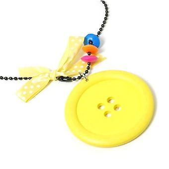 The Olivia Collection Girls Large Yellow Button Pendant On 26