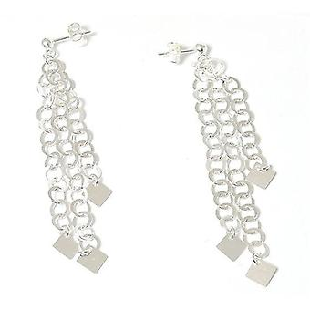 The Olivia Collection Sterling Silver Triple Link Chains Long Drop Earrings