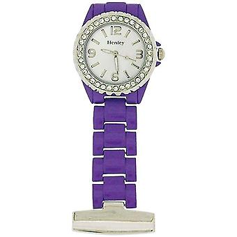 Henley Glamour CZ Purple Enamel Beauticians Fob Watch HF01.7