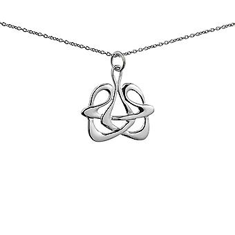 Silver 23x24mm Celtic Pendant with a 1mm wide rolo Chain 24 inches