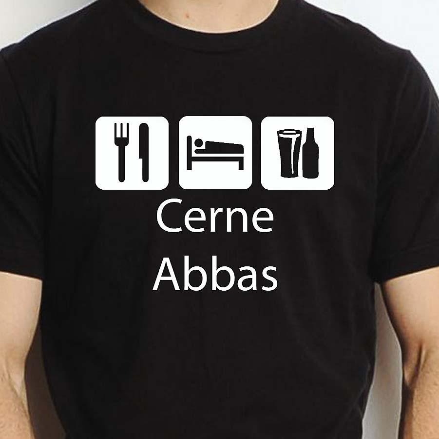 Eat Sleep Drink Cerneabbas Black Hand Printed T shirt Cerneabbas Town