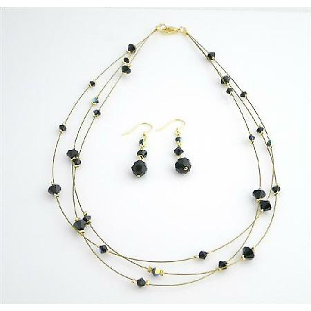 Swarovski Jet Crystal Dress Jewelry Golden Three Stranded Necklace Set