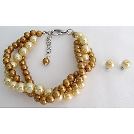 Bridesmaid Jewelry Pearl Bracelet Fields of Gold Yellow Wedding Set