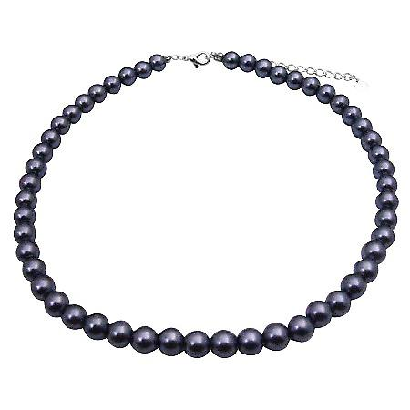 Dark Grey Cultured Pearls Choker Simulated Pearls Beautiful Necklace
